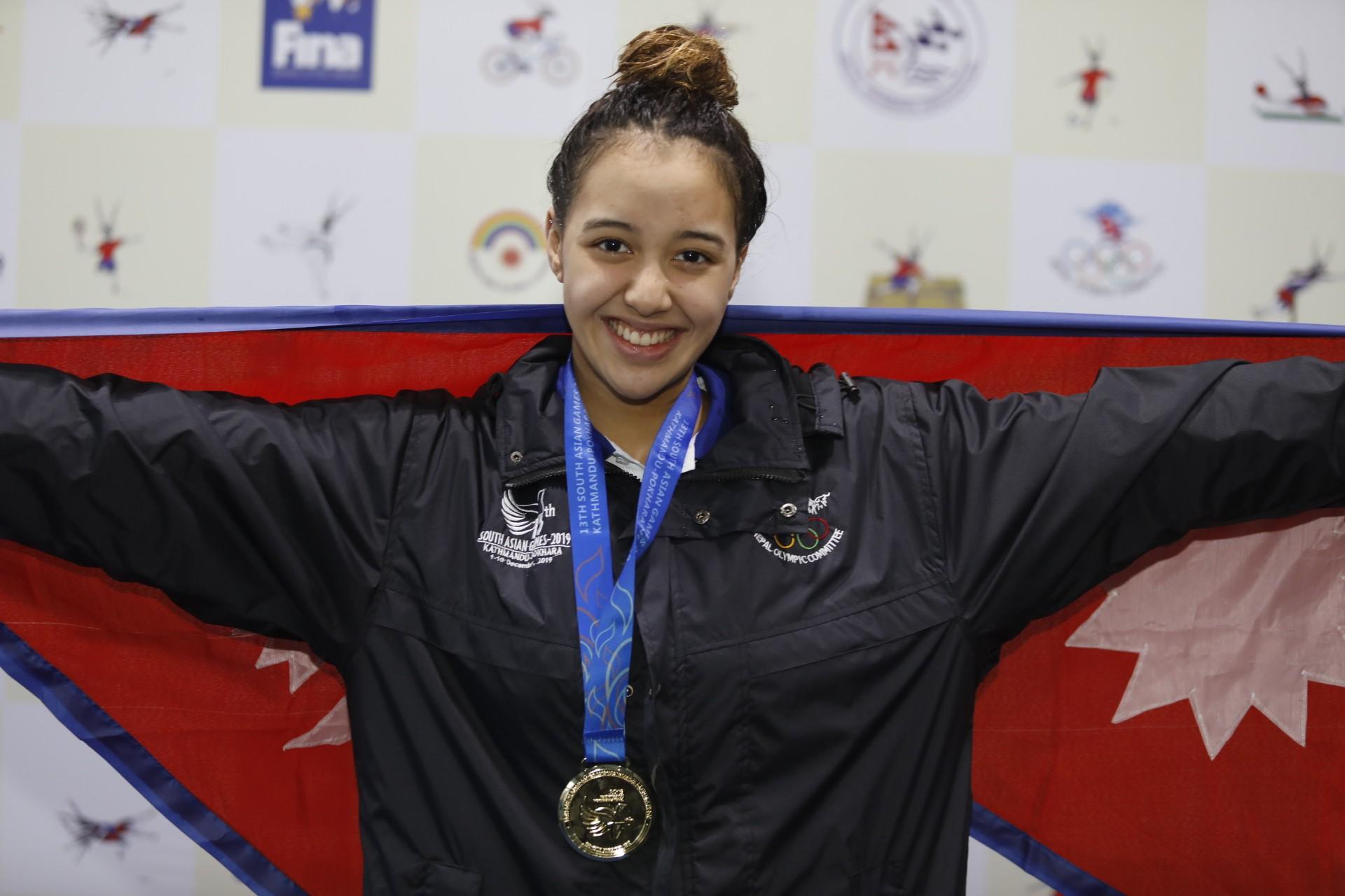 Nepali Aqua Queen Gaurika Claims Hat-Trick Of Gold Medals