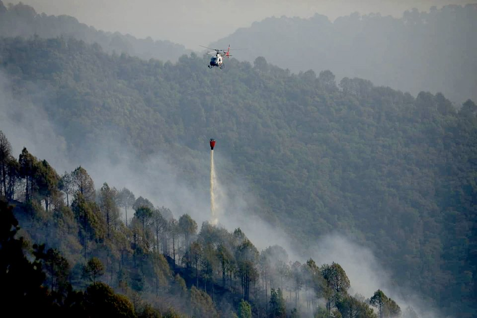 Helicopter Used To Drop Water On Wildfire In Shivapauri